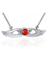 Carnelian Modern Egyptian Winged Sun Disc Necklace