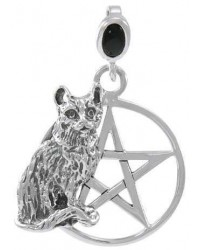 Cat Familiar Pentacle Laurie Cabot Pendant Mystic Convergence Magical Supplies Wiccan Supplies, Pagan Jewelry, Witchcraft Supplies, New Age Store