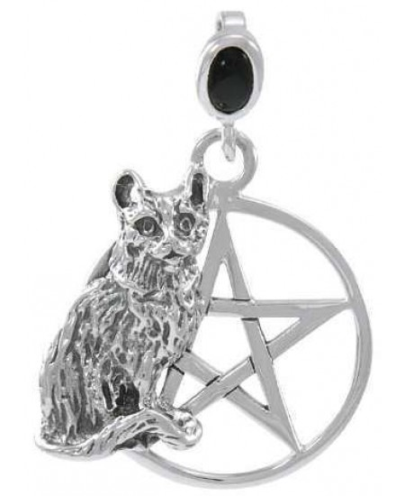 Cat Familiar Pentacle Laurie Cabot Pendant at Mystic Convergence Metaphysical Supplies, Metaphysical Supplies, Pagan Jewelry, Witchcraft Supply, New Age Spiritual Store