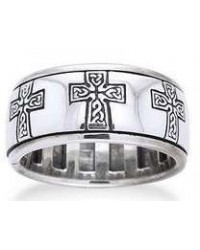 Celtic Cross Sterling Silver Fidget Spinner Ring Mystic Convergence Metaphysical Supplies Metaphysical Supplies, Pagan Jewelry, Witchcraft Supply, New Age Spiritual Store