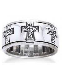 Celtic Cross Sterling Silver Fidget Spinner Ring