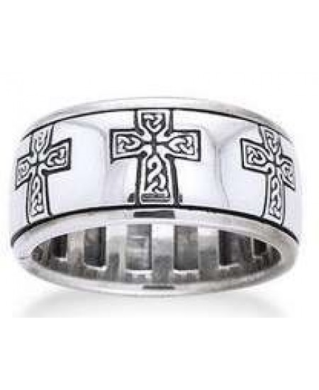 Celtic Cross Sterling Silver Fidget Spinner Ring at Mystic Convergence Metaphysical Supplies, Metaphysical Supplies, Pagan Jewelry, Witchcraft Supply, New Age Spiritual Store