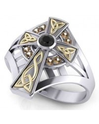 Braided Celtic Cross Silver and Gold Ring