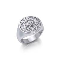 Celtic Pentacle Moonstone Flip Ring
