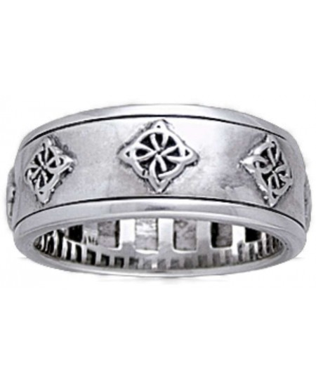 Celtic Quaternary Sterling Silver Fidget Spinner Ring at Mystic Convergence Metaphysical Supplies, Metaphysical Supplies, Pagan Jewelry, Witchcraft Supply, New Age Spiritual Store