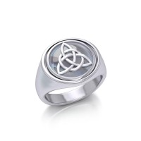 Celtic Triquetra with Rainbow Moonstone Flip Ring