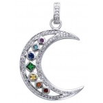 Silver Moon Gemstone Pendant at Mystic Convergence, Wiccan Supplies, Pagan Jewelry, Witchcraft Supplies, New Age Store