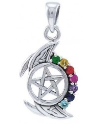Pentagram, Crescent Moon, and Chakra Silver Pendant Mystic Convergence Metaphysical Supplies Metaphysical Supplies, Pagan Jewelry, Witchcraft Supply, New Age Spiritual Store