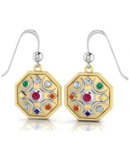 Chandra Moon Gemstone Gold Plated Earrings at Mystic Convergence Metaphysical Supplies, Metaphysical Supplies, Pagan Jewelry, Witchcraft Supply, New Age Spiritual Store