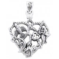 Cimaruta Heart Sterling Silver Witches Charm