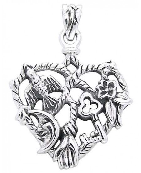 Cimaruta Heart Sterling Silver Witches Charm at Mystic Convergence Metaphysical Supplies, Metaphysical Supplies, Pagan Jewelry, Witchcraft Supply, New Age Spiritual Store