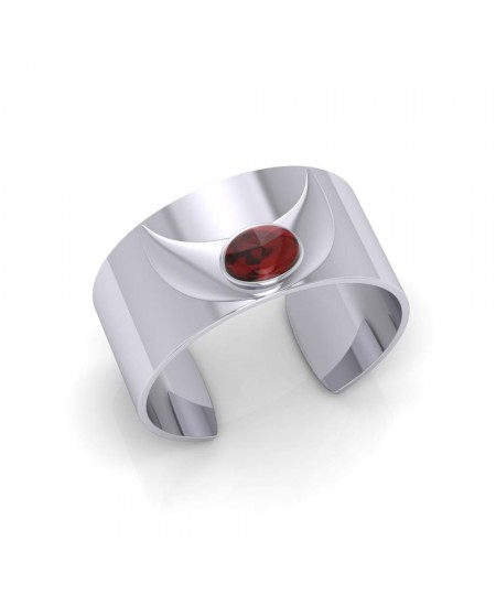 Crescent Moon Silver Armband with Garnet Gemstone