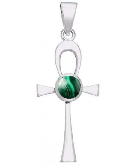 Ankh Egyptian Pendant with Malachite Gem at Mystic Convergence Metaphysical Supplies, Metaphysical Supplies, Pagan Jewelry, Witchcraft Supply, New Age Spiritual Store