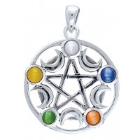 Pentacle with Gems and Moon Pendant