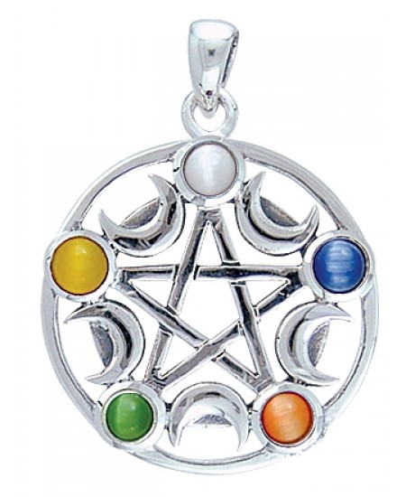Pentacle with Gems and Moon Pendant at Mystic Convergence Metaphysical Supplies, Metaphysical Supplies, Pagan Jewelry, Witchcraft Supply, New Age Spiritual Store