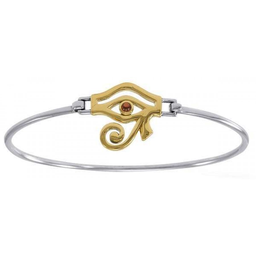 Eye of Horus Sterling and Gold Bangle Bracelet