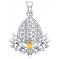 Lotus Flower of Life Gemstone Pendant