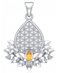 Lotus Flower of Life Citrine Pendant Mystic Convergence Metaphysical Supplies Metaphysical Supplies, Pagan Jewelry, Witchcraft Supply, New Age Spiritual Store