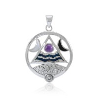 Four Elements Lunar Power Pendant with Amethyst