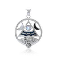Four Elements Lunar Power Pendant with Rainbow Moonstone