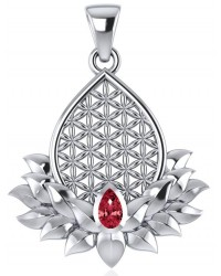 Lotus Flower of Life Garnet Pendant Mystic Convergence Metaphysical Supplies Metaphysical Supplies, Pagan Jewelry, Witchcraft Supply, New Age Spiritual Store