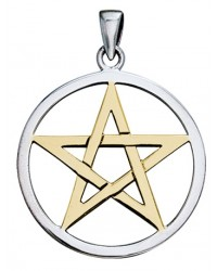 Pentagram Silver and Gold Pendant Mystic Convergence Metaphysical Supplies Metaphysical Supplies, Pagan Jewelry, Witchcraft Supply, New Age Spiritual Store