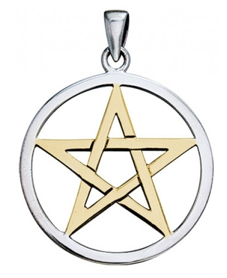 Pentagram Silver and Gold Pendant at Mystic Convergence Metaphysical Supplies, Metaphysical Supplies, Pagan Jewelry, Witchcraft Supply, New Age Spiritual Store