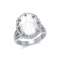 Hamsa Hand Natural Clear Quartz Ring