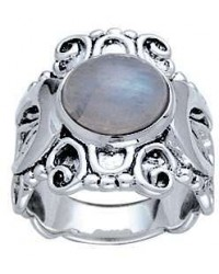 Moonstone Triple Moon Intricate Silver Ring Mystic Convergence Metaphysical Supplies Metaphysical Supplies, Pagan Jewelry, Witchcraft Supply, New Age Spiritual Store