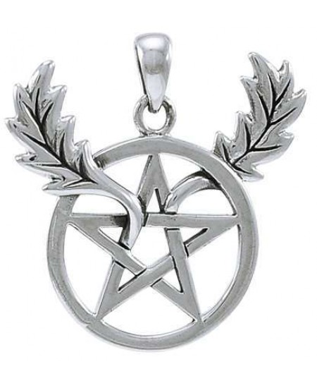 Oak Leaf Branches Pentacle Sterling Silver Pendant at Mystic Convergence Metaphysical Supplies, Metaphysical Supplies, Pagan Jewelry, Witchcraft Supply, New Age Spiritual Store