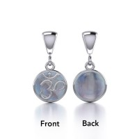 Om Silver Flip Pendant with Rainbow Moonstone Gemstone
