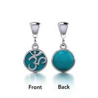 Om Silver Flip Pendant with Turquoise Gem