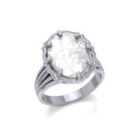 Om Natural Clear Quartz Ring