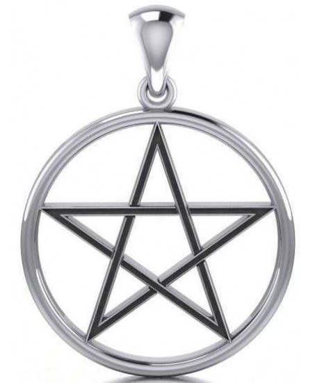 Black Pentagram Sterling Silver Pendant at Mystic Convergence Metaphysical Supplies, Metaphysical Supplies, Pagan Jewelry, Witchcraft Supply, New Age Spiritual Store