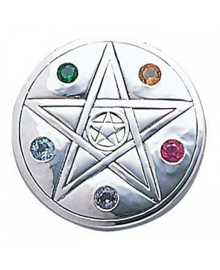 Pentacle Disc Sterling Silver Pendant at Mystic Convergence Metaphysical Supplies, Metaphysical Supplies, Pagan Jewelry, Witchcraft Supply, New Age Spiritual Store