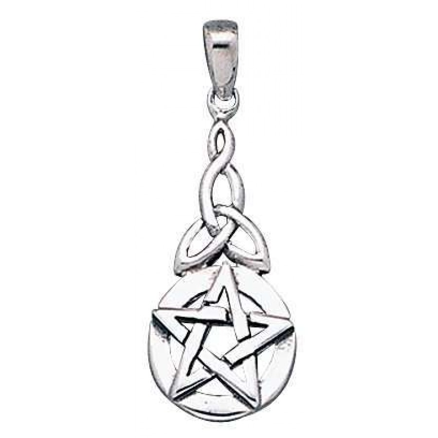 Pentacle Knot Sterling Silver Pentagram Pendant Wicca Witch