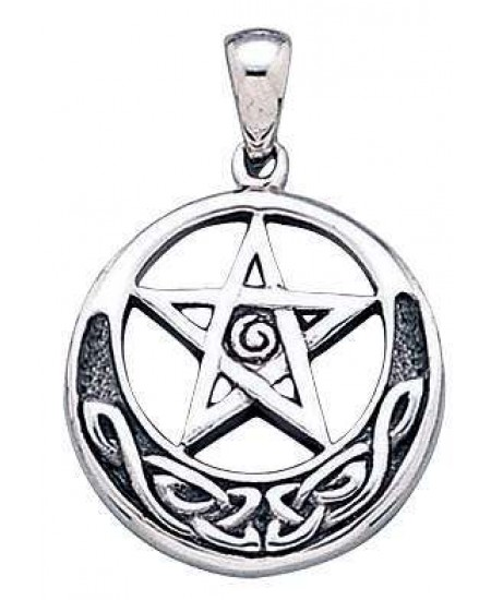 Spiral Pentacle Sterling Silver Pentagram Pendant at Mystic Convergence Metaphysical Supplies, Metaphysical Supplies, Pagan Jewelry, Witchcraft Supply, New Age Spiritual Store