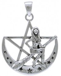 Witchy Broom Pentacle Sterling Silver Pendant Mystic Convergence Metaphysical Supplies Metaphysical Supplies, Pagan Jewelry, Witchcraft Supply, New Age Spiritual Store