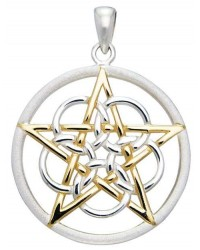 Textured Silver and Gold Pentagram Pendant Mystic Convergence Metaphysical Supplies Metaphysical Supplies, Pagan Jewelry, Witchcraft Supply, New Age Spiritual Store