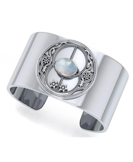 Chalice Well Rainbow Moonstone Cuff Bracelet at Mystic Convergence Metaphysical Supplies, Metaphysical Supplies, Pagan Jewelry, Witchcraft Supply, New Age Spiritual Store