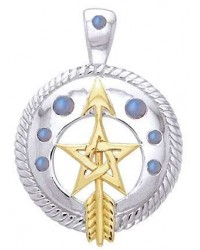 Pentacle Gemstone Sterling and Gold Vermeil Pendant Mystic Convergence Metaphysical Supplies Metaphysical Supplies, Pagan Jewelry, Witchcraft Supply, New Age Spiritual Store