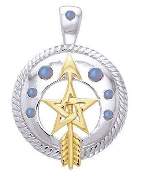 Pentacle Gemstone Sterling and Gold Vermeil Pendant at Mystic Convergence Metaphysical Supplies, Metaphysical Supplies, Pagan Jewelry, Witchcraft Supply, New Age Spiritual Store
