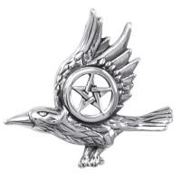 Raven with Pentagram Sterling Silver Pendant