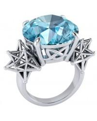 Sacred Hexagon Gemstone Silver Ring