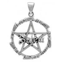 Salem Pentagram Broom Sterling Silver Pendant