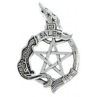 Salem Cat Pentacle Sterling Silver Pendant
