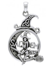 Salem Witch in Moon Sterling Silver Pendant Mystic Convergence Metaphysical Supplies Metaphysical Supplies, Pagan Jewelry, Witchcraft Supply, New Age Spiritual Store