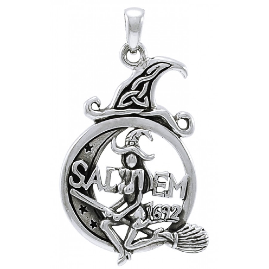 Salem witch in moon sterling silver pendant wicca witch pagan salem witch in moon sterling silver pendant at mystic convergence magical supplies wiccan supplies aloadofball Image collections
