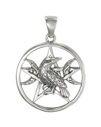 Raven Pentacle Moon Sterling Silver Pendant Mystic Convergence Metaphysical Supplies Metaphysical Supplies, Pagan Jewelry, Witchcraft Supply, New Age Spiritual Store