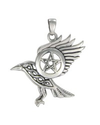 Raven Pentacle Sterling Silver Pendant Mystic Convergence Metaphysical Supplies Metaphysical Supplies, Pagan Jewelry, Witchcraft Supply, New Age Spiritual Store